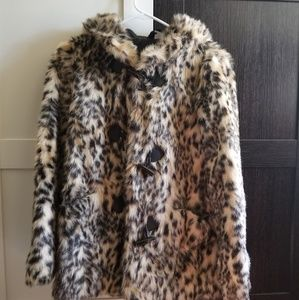 H&M Faux Fur Leopard Toggle Coat